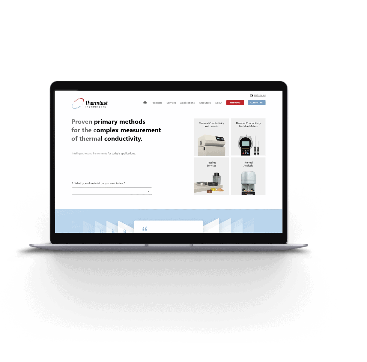 Thermtest homepage design