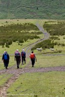 walkers descending Cefn Drum