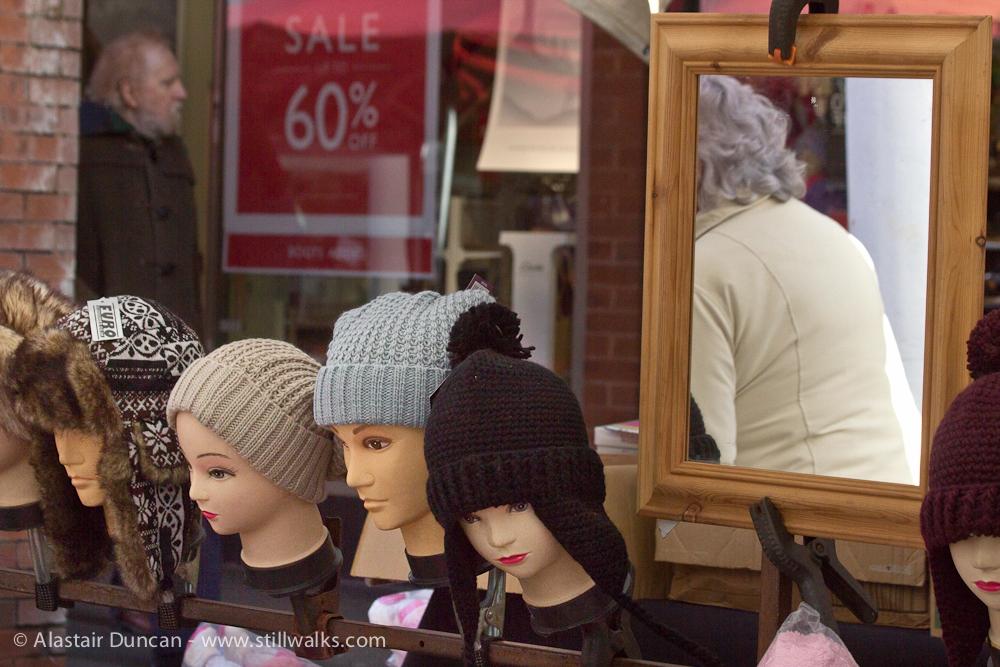 Carmarthen market hat stall