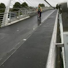 York Millennium Bridge cyclist