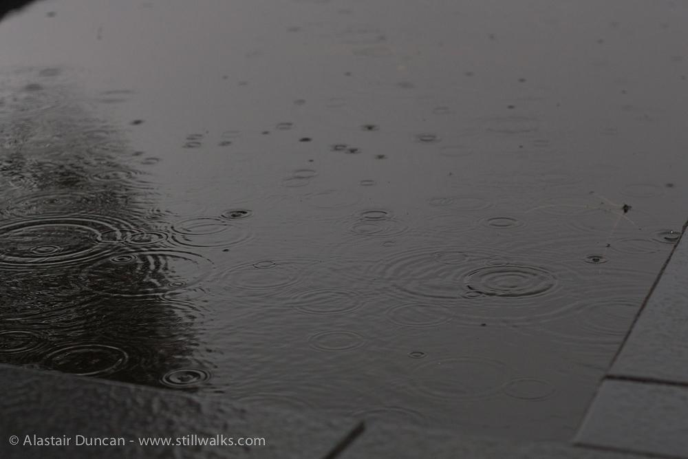 raindrops on water