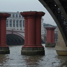 red towers in the Thames