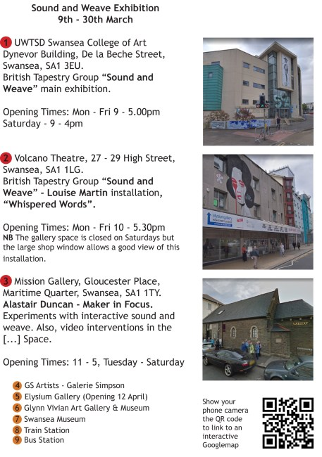 """Sound and Weave"" exhibition venues in Swansea"