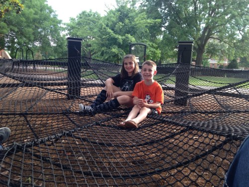 Taylor and Luke Longan (children of Jessica and Jacob Longon) enjoyed their tour through campus with a stop at the group hammock. Photo provided by Jessica Longan.