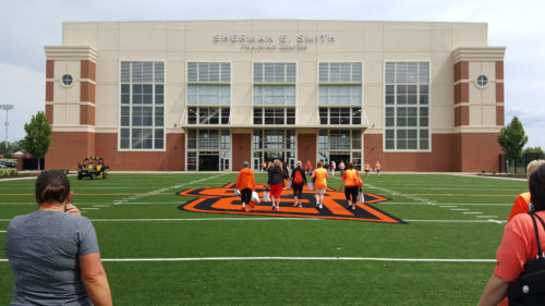 Sherman E. Smith Indoor Training Center was the location of the workouts.