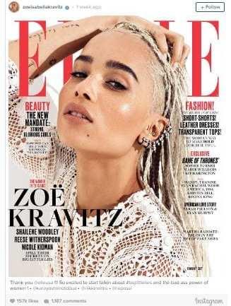 Zoe Kravitz covers ELLE February Issue.