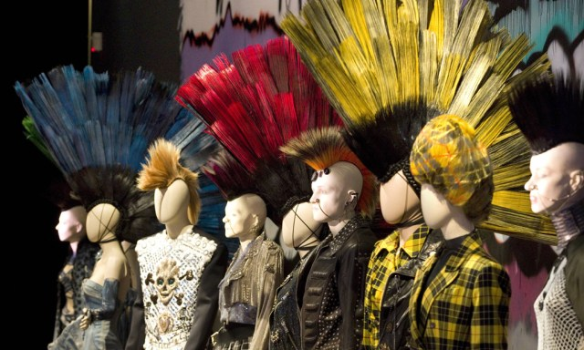 Mannequins displaying creations by designer Jean Paul Gaultier are seen during the press visit of the Jean Paul Gaultier Exhibition at the Grand Palais in Paris, March 30, 2015. The Jean Paul Gaultier fashion exhibition, which will take place from April 1 to August 3, 2015, will present 175 Haute Couture and ready-to-wear outfits designed between 1976 and 2015. REUTERS/Charles Platiau