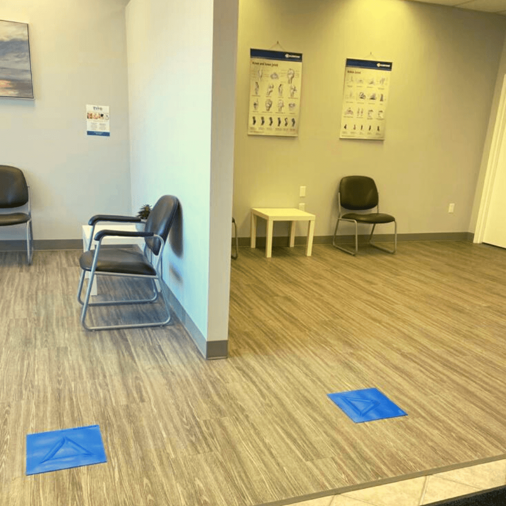 a medical office equipped with accessible social distancing indicators