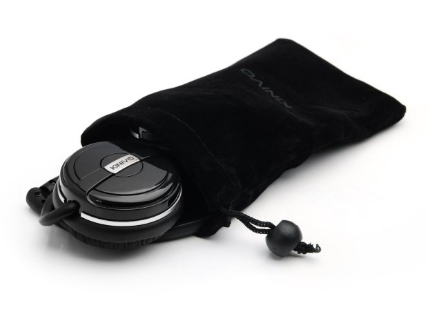 The Kinivo BTH240 easily folds and comes with a storage pouch and Micro-USB charging cord
