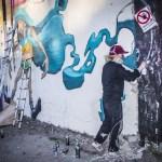 Bilder från Grafittiutställning i Snösätra industriområde, våren 2015.