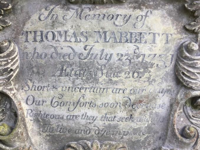 Tomb inscription to Thomas Mabbett aged 26