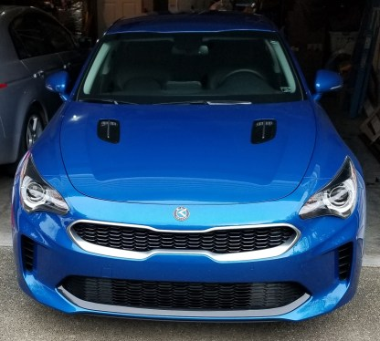 kia motors badge on blue stinger