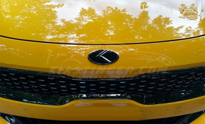 chrome vintage k badge on yellow stinger