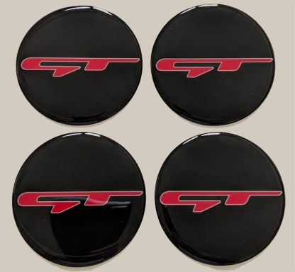red gt overlays with white outline for the kia stinger wheel center caps
