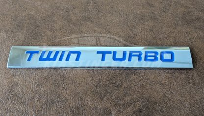 twin turbo badge in blue