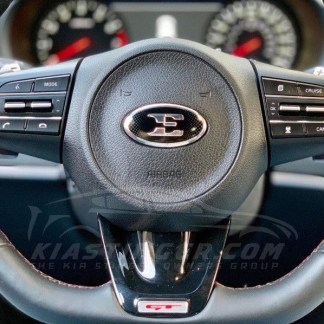 kia stinger e steering wheel badge emblem