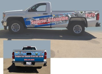 Here is the first vehicle wrap I ever designed. This is a mock up created in Photoshop for the Superior Automotive Group.