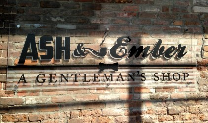The sign I designed for Ash&Ember. This sign was team worked as far as it's final execution. It was to be lit which was pricey, I had the idea to make it in-house with plexiglass with frosted elements on standoffs, the production manager suggested lighting it from behind and using translucent vinyl lettering in black. In the end we came up with a sign that looks almost painted on in the day and saved Ash & Ember some scratch!