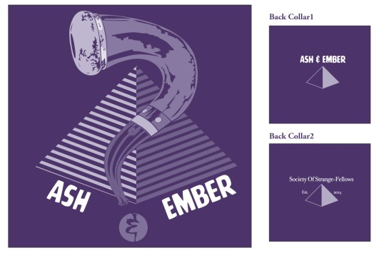 Designs for the teeshirt. The back two versions shown to the right.