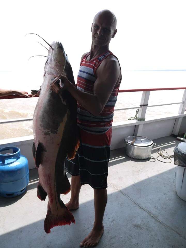 The monster Piraiba catfish caught while struggling by the army guys.  Amazon boat trip