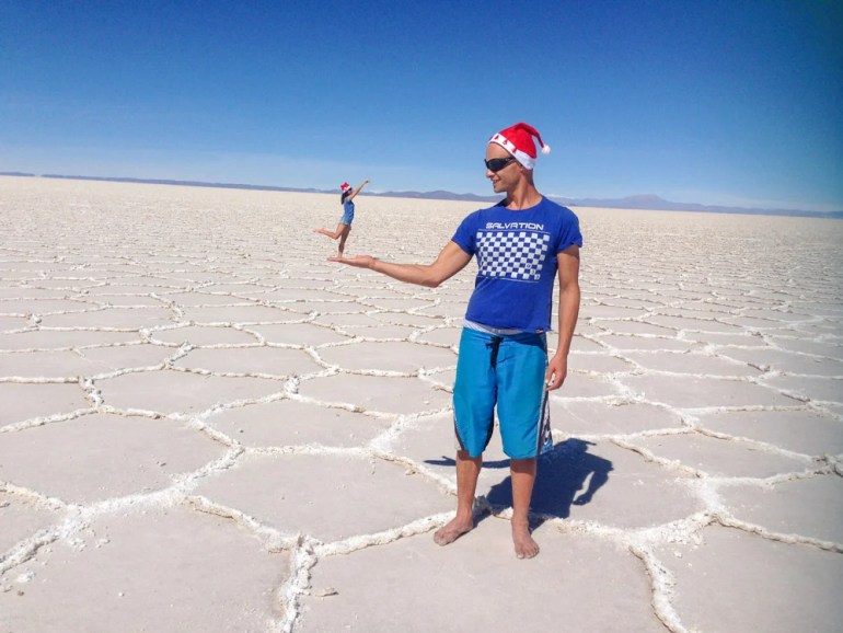 We were taking some fun photos in the dry salt desert.