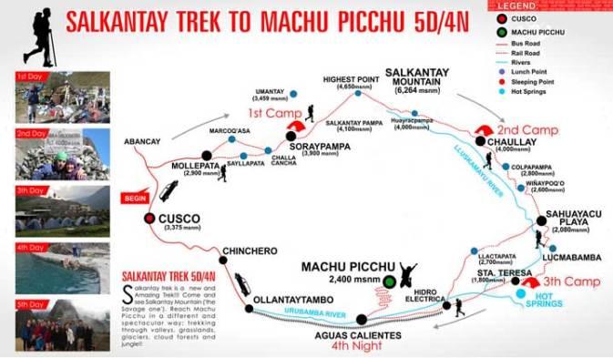 Map of Salkantay trek.
