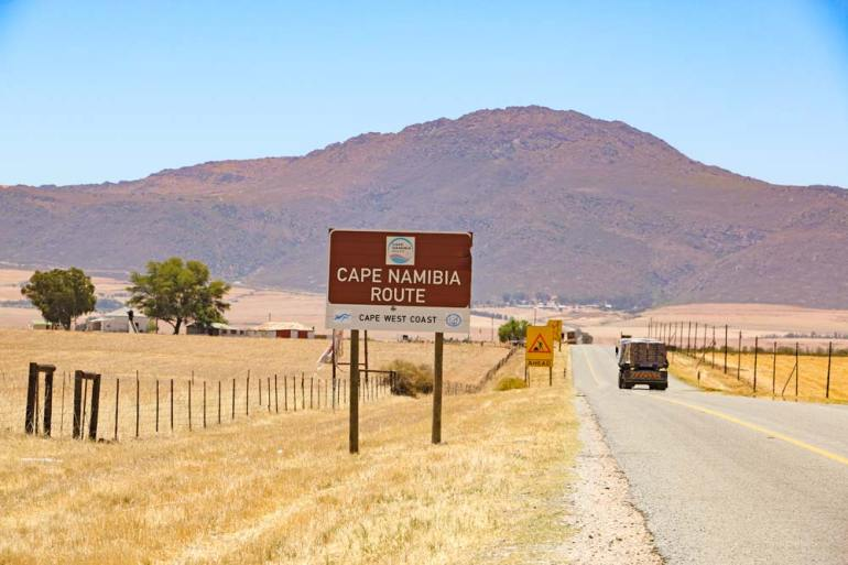 A Cape Namibia Route sign on the way out of Cape Town to Namaqualand