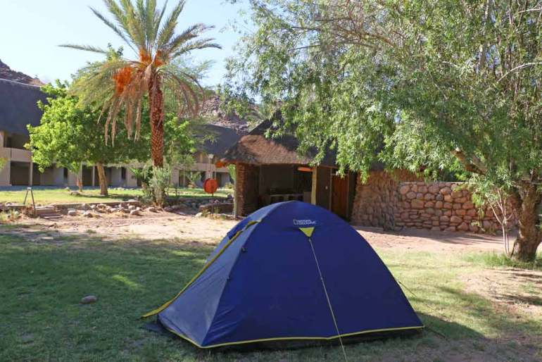 Our camping spot on the grass at Ai-Ais Hot Spring campsite in Namibia