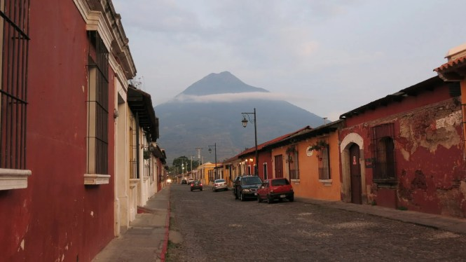 The beautiful colonial town, Antigua, located in a valley between three volcanoes.