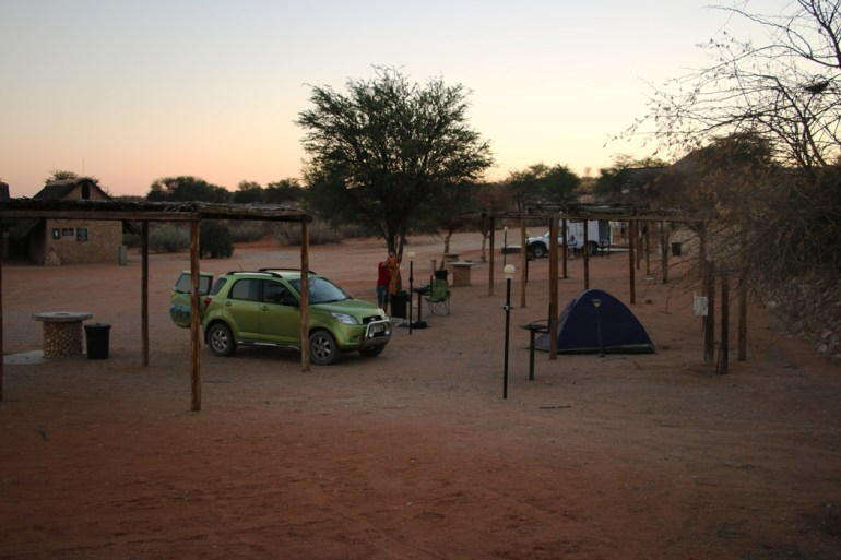 Our campsite at Twee Rivieren at sunset.