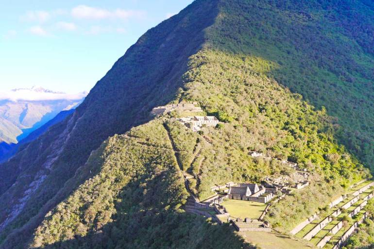 The Choquequirao ruins from the viewpoint, one of the best treks in Peru