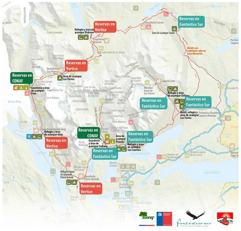 Map of the campsites on the O circuit, Torres del Paine, Patagonia