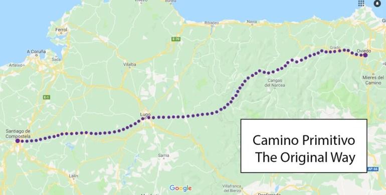 Camino Primitivo de Santiago route map