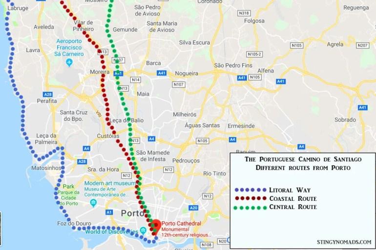 Portuguese Camino de Santiago; Senda Litoral, Coastal Route and Central Route from Porto