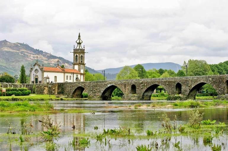 Old bridge and a church, Ponte de Lima, Central Route, Portugal