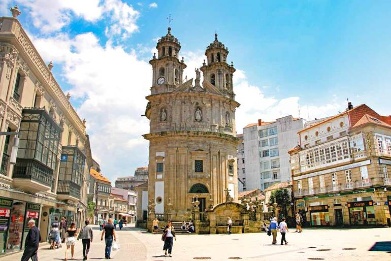 Beautiful Baroque Cathedral of Pontevedra, Spain