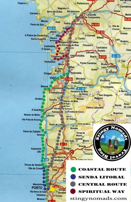 A route map with four different trails from Porto to Santiago de Compostela