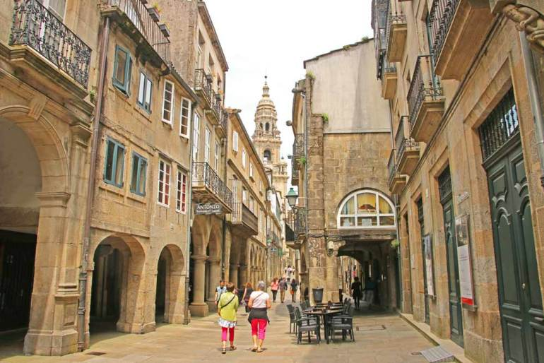 Narrow streets of Santiago de Compostela on the way to the Cathedral