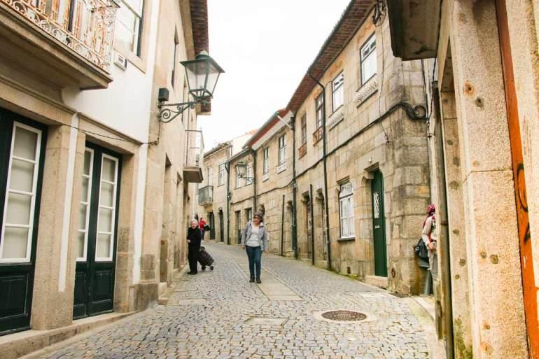 A pretty cobblestone street of a small town in Portugal