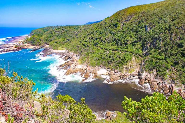 View of the Storms River and the ocean from the lookout at Tsitsikamma National park