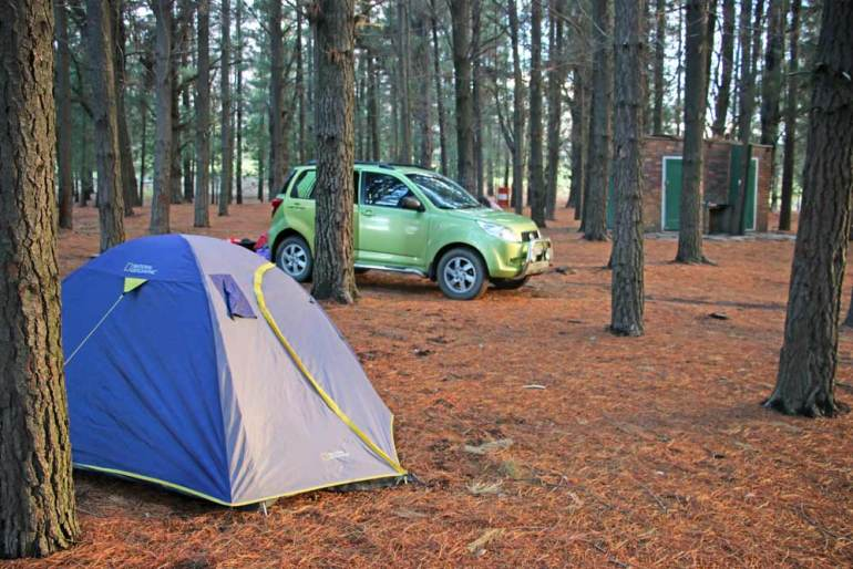 A camping spot in the forest at Matroosberg campsite near Cape Town