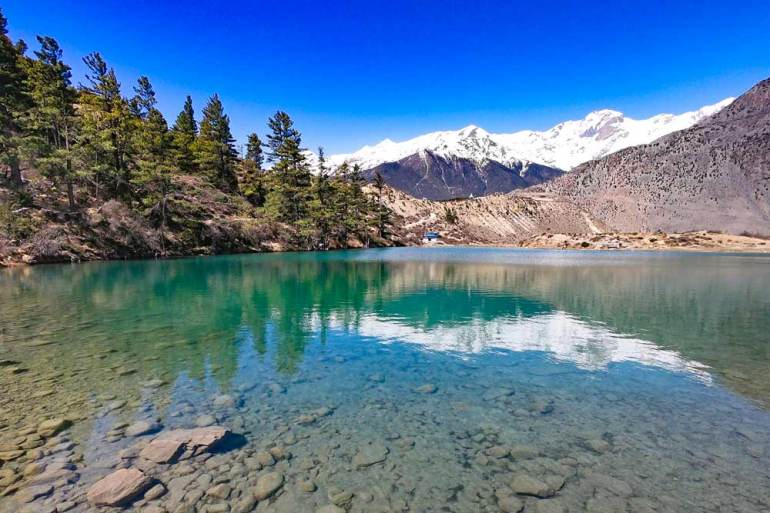 Turquoise colour Dhumbra Lake, Jomsom