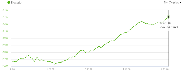 Elevation profile of the walk from Timang to Upper Pisang
