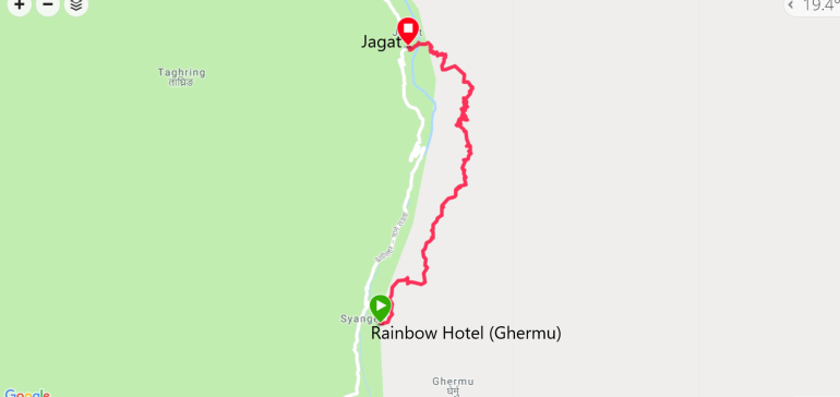 Trekking route map from Ghermu to Jagat. Annapurna circuit itinerary