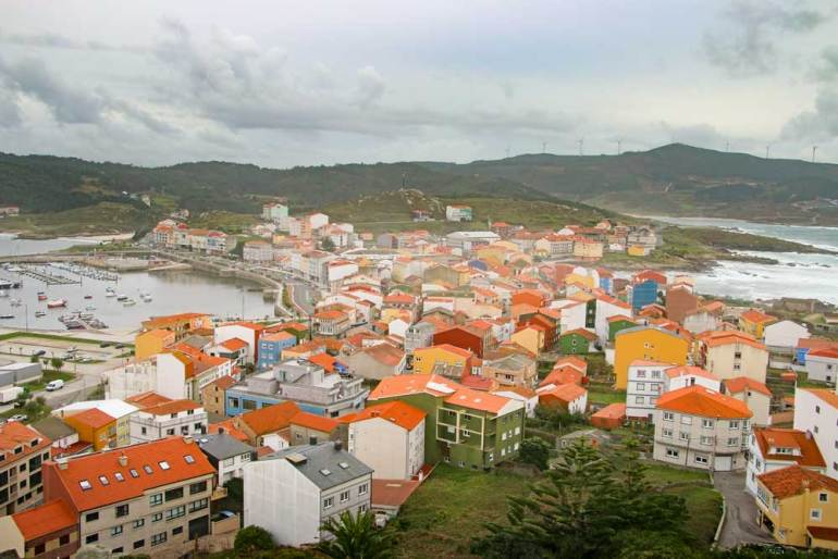 The town of Muxia and its harbor from the view-point at Monte Carpiño