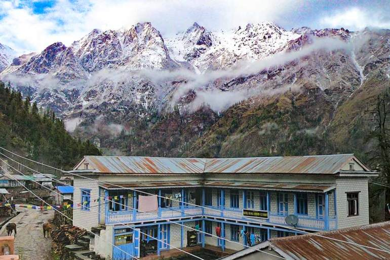 Views of the mountains from our guesthouse in Timang