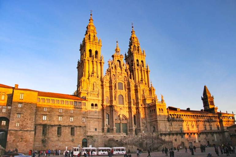 Plaza Obradoiro and the Cathedral at sunset