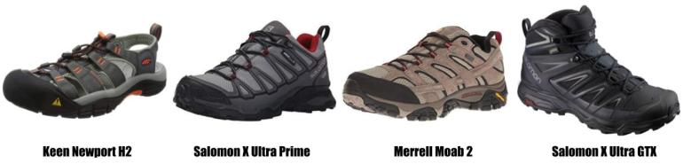 Recommended shoes for men for the Camino de Santiago. Keen hiking sandals, Salomon shoes, Merrel shoes and Salomon GTX hiking boots