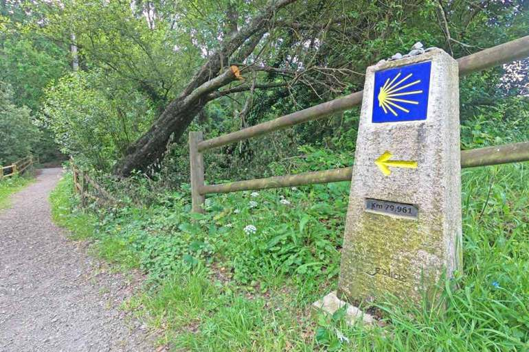 A stone pole marking the Camino Ingles route with the distance to Santiago