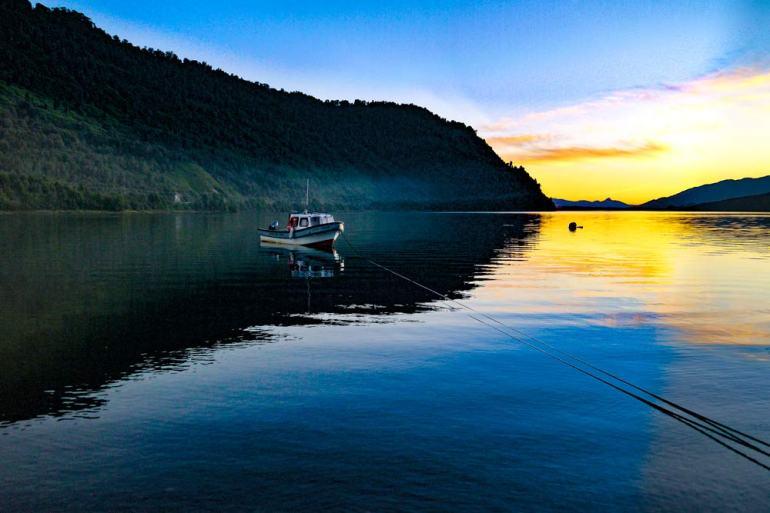 Sunset at the lake in Puyuhuapi, Patagonia